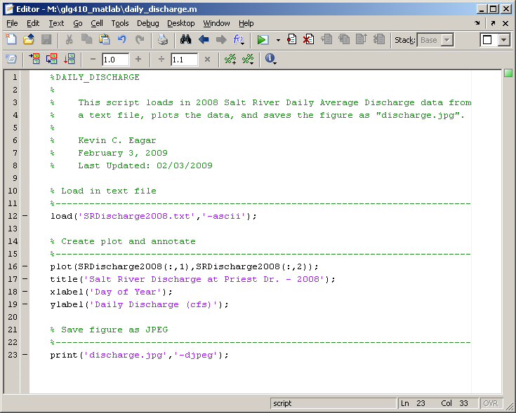 Examples of MATLAB functions
